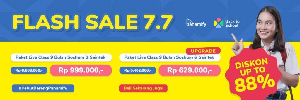 Klik banner ini untuk berlangganan Flash Sale 7/7 bimbel online Pahamify sekarang!